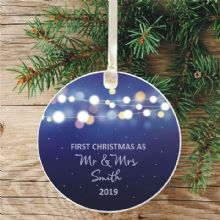 First Christmas as Mr and Mrs Keepsake Ceramic Christmas Tree Decoration - Lights Blue Design